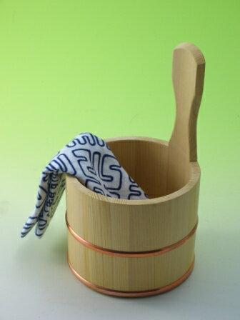 ◆木の香 オリジナル◆お風呂の木製ゆおけ(手桶 片手桶)【国産品/国産さわら材・銅タガ】 木工職人の手作り 安心商品