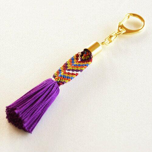 笹波組みキーホルダー (紫)