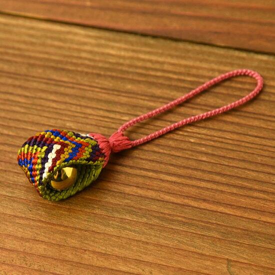 七色根付 組紐【正絹】 笹波組み ≪内側の色:黄緑≫