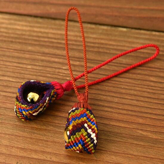 七色根付 組紐【正絹】 笹波組み ≪内側の色:紫≫ 【DM便対応可】