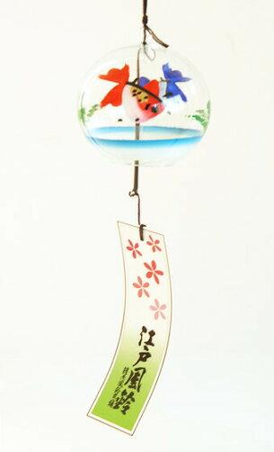 篠原風鈴本舗江戸風鈴小丸ガラス風鈴二色金魚