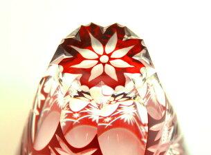 ロックグラス万華鏡切子-赤