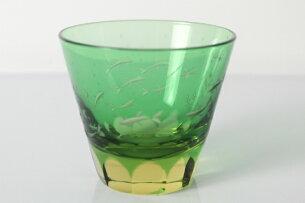 ミニロックグラス金魚青/切子/江戸切子/江戸硝子/グラス/ガラス
