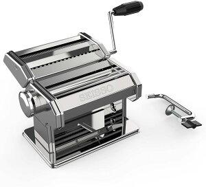 【送料無料】製麺機 パスタマシン 洗える 家庭用 手回し版 簡単に麺を作る 2種カッター 2MM細麺/4MM太麺 食品級ステンレス製 衛生的 お手入れ簡単