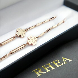 【RHEA α elegant】健康ネックレス(ピンクゴ−ルド クローバーダイヤ / レディース