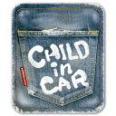 【マグネット】ヴィンテージデニム風 CHILD IN CAR チャイルドインカー マグネットステッカー/kids in car/kids on board/ba...