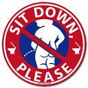 座りション ステッカー 立たないでジョ〜!!(小便小僧/レッド) 立ちション禁止 座りしょんウォールステッカー トイレ…