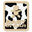 うし柄 BABY IN CAR ベビーインカー ステッカー/牛柄 ウシ柄 赤ちゃんが乗ってます ベビーinカー ベイビーインカー お…
