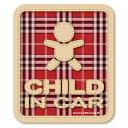 【マグネット】チェック柄 CHILD IN CAR チャイルドインカー マグネット ステッカー(レッド)/kids in car/kids on board/子...