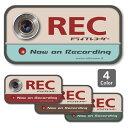 ドライブレコーダー ステッカー(レトロ)ドラレコ 搭載車 車載カメラ 録画 車 後方録画中 防犯 セキュリティーステッ…