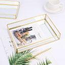 【送料無料】ヴィンテージメタルガラス収納ボックスゴールドトレイジュエリー化粧品ディスプレイボックス小さい