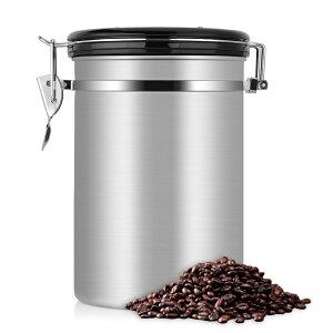 【送料無料】1.8L コーヒーキャニスター コーヒー保存容器 CO2を排出する コーヒー豆、お茶、小麦粉、砂糖などを保管 珈琲 気密性 収納 密封容器 防湿 304ステンレス鋼 友達 ご家族 ギフト