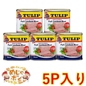 ポーク チューリップ 沖縄 定番 お土産 おすすめ TULIPポークランチョンミートうす塩味340g×5缶セット