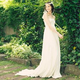【即納】ビーズ刺繍 楊柳ウェディングドレス/オフホワイト エンパイア/フリー[ds011]