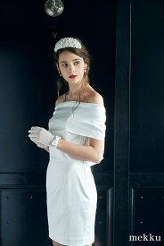 【即納】オフショルウェディングドレス/ショート丈/サテン ホワイト[ds010]