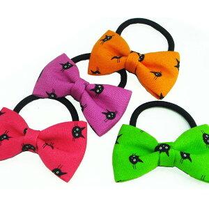 黒猫柄リボン付きヘアゴム☆ヘアアクセサリー ヘアーアクセサリー ハロウィン ネコ ねこ ピンク オレンジ グリーン 緑色 ブルー 青 パープル 紫 キッズ 子供 こども プチプラ プレゼント ギ