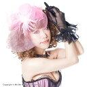 【ヘッドドレス ヘッドアクセサリー 帽子 ハット】大きなネットにキラキラリボンふわふわフェザーのヘッドアクセサリー(ピンク)[70349]/ミーミー☆5400円...