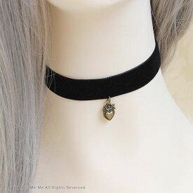 【チョーカー】アンティーク風ハートのベロアチョーカー(黒 ブラック)[jla160]/ミーミー【コスプレ】結婚式 ウェディング パーティー お呼ばれ 衣装にも♪