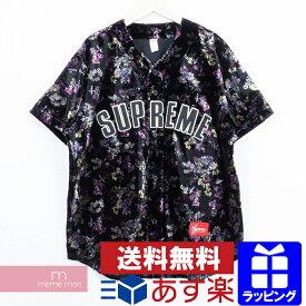 Supreme 2019AW Floral Velour Baseball Jersey シュプリーム フローラルベロアベースボールジャージー 半袖シャツ 花柄 ブラック×パープル プレゼント ギフト【190909】【gs】