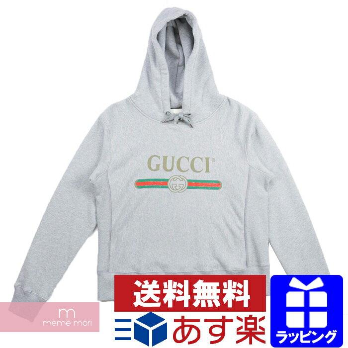 GUCCI Logo Hoodie グッチ ロゴフーディ パーカー グレー サイズS