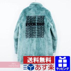 【全品10%OFF&冬物売切セール!26日まで】Supreme×HYSTERIC GLAMOUR 2017AW Fuck You Faux Fur Coat シュプリーム×ヒステリックグラマー ファックユーフェイクファーコート バックロゴ エメラルドブルー サイズM 【200115】