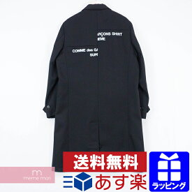 Supreme×COMME des GARCONS SHIRT 2018AW Wool Blend Overcoat シュプリーム×コムデギャルソンシャツ ウールブレンドオーバーコート チェスターコート スプリットロゴ ブラック サイズM 【200313】【中古-A】