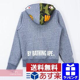 A BATHING APE Shark Full Zip Hoodie アベイシングエイプ シャークフルジップフーディ パーカー ネイビーグレー サイズS 【200329】【中古-B】【me04】
