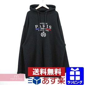 【セール】BALENCIAGA 2019AW Paris Flag Oversize Hoodie 594576 TGV49 バレンシアガ パリフラッグフーディ パーカー プルオーバー 刺繍 ブラック サイズXL 【210123】【中古-B】