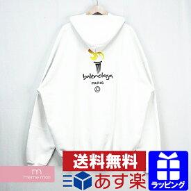 【セール】BALENCIAGA 2020AW Embroidery Flame Hoodie 620973 TIV45 バレンシアガ エンブロイダリーフレイムフーディ パーカー プルオーバー 刺繍 ホワイト サイズXS 【210123】【新古品】