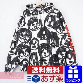 【月越セール】Supreme×Yohji Yamamoto 2020AW Hooded Sweatshirt シュプリーム×ヨウジヤマモト フーデッドスウェットシャツ プルオーバーパーカー 総柄プリント Sancheeto ホワイト×ブラック サイズL【201017】【新古品】
