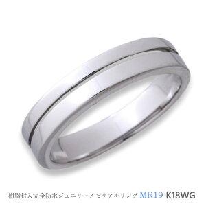 メモリアルリングMR19 地金:K18WG (18Kホワイトゴールド) 〜遺骨を内側にジェル封入する完全防水の指輪〜