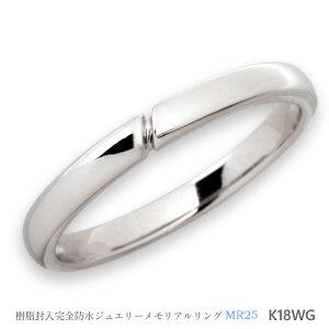 セミオーダーメモリアルリング【MR25/K18WG】指輪,遺骨