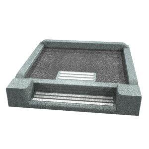 メモリアル石材工業 外枠囲い石(御影石)【門柱付階段式型】