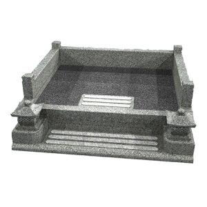 メモリアル石材工業 外枠囲い石(御影石)【玉垣式灯篭付型】