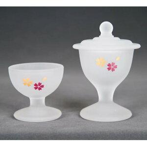 ガラス くもりガラス ホワイト桜 茶器(茶湯器)仏器(仏飯器)セット