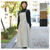 * Gathers apron dress (linty729501) lady's hemp white day in the fall and winter