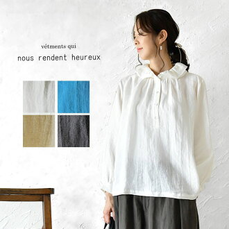 * Flower neck linen pullover blouse (819097) lady's figure cover slone square Ron square cashless reduction in the fall and winter