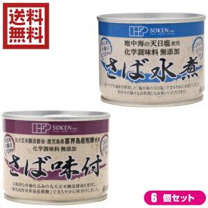 【ポイント6倍】最大33倍!鯖 水煮 缶 創健社 さば缶 選べる6個セット 全2種
