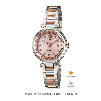 It is Swarovski element adoption SHW-1504SG-4AJF in a CASIO Casio Sheen (the scene) radio time signal tough solar time character