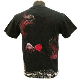 和柄【satori-さとり-】半袖Tシャツ〔波富士に跳鯉刺繍〕GST-407、白・黒(全2色)、M〜XXL