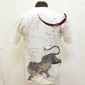 和柄【satori-さとり-】半袖Tシャツ〔三日月雲に桜白虎刺繍〕GST-402、白・黒(全2色)、M〜XXL