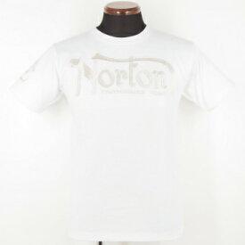 バイカー・アメカジ・ロック系【Norton ノートン】半袖Tシャツ〔英字ロゴ 総刺繍〕62N1000、白・黒(全2色)、M〜XXL、2016年夏モデル