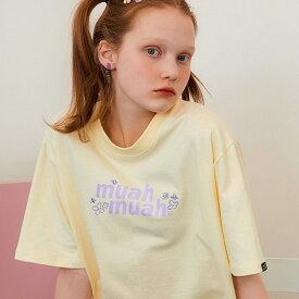 【セール】muahmuah ムーアムーア 正規品 フラワーTシャツ/全4色【あす楽対応】韓国 韓国ブランド 韓国ファッション トップス Tシャツ 半袖 ロゴ レディース 白 黒 青 黄色
