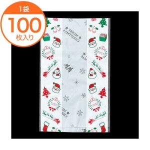 【菓子パン袋(クリスマス用)】 7218 クリスマス小袋 100枚