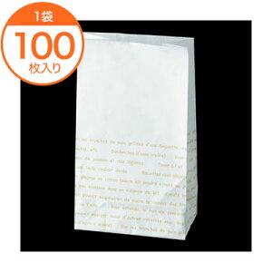 【耐油袋(平袋)】 8286 耐油角底袋6号 #186 レシピ柄 100枚