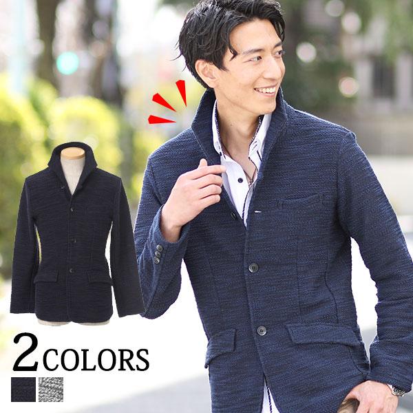 送料無料 ジャケット メンズ イタリアンカラー スラブ地 カジュアル ネイビー ブラック オフホワイト M/L/LL/3L