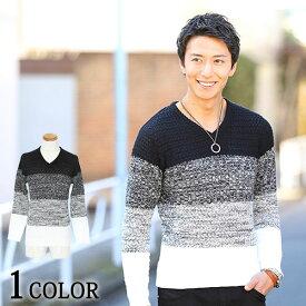 ケーブルニット ケーブル編み ニット セーター vネック ケーブルニット メンズファッション