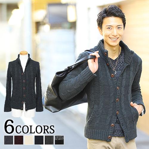 【送料無料】ケーブルニット ブルゾン ニット メンズ スタンドカラーニット セーター スタンドカラー メンズファッション