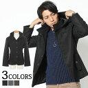 【送料無料】コート メンズ スタンドカラーコート アウター カルゼ織り フード スタンドカラー