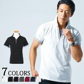 ポロシャツ メンズ トップス 半袖 レイヤード トリコロール スキッパー 夏 服 30代 40代 50代